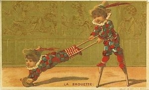 clown-boy-stilts-la-brouette-paris-france-trade-card