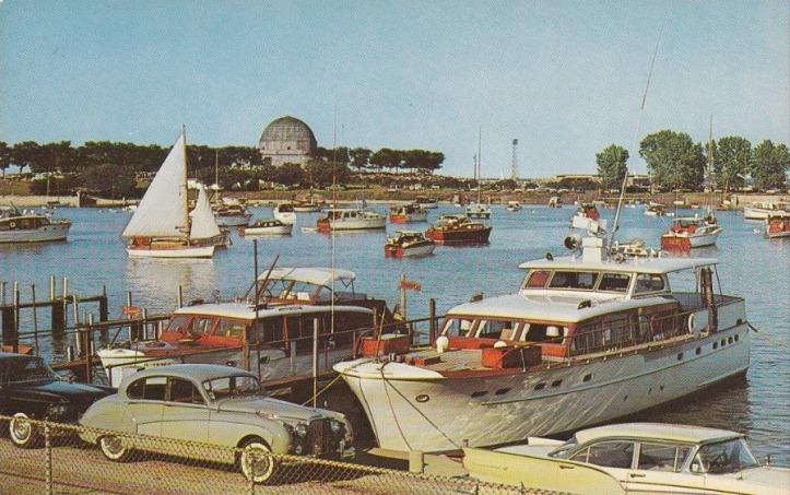 Burnham Harbor c 1960 w Jaguar