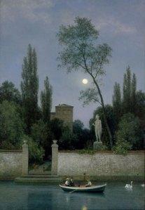 Georg Emil Libert (Danish, 1820 - 1908) Italian Villa in Moonlight