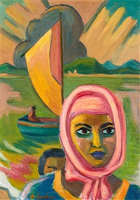 maggie-(maria-magdalena)-laubser-portrait-of-a-mother-and-child,-boat-and-suns-rays-in-the-background