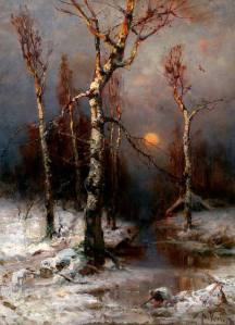 julius-von-klever-sunset-in-a-winter-forest